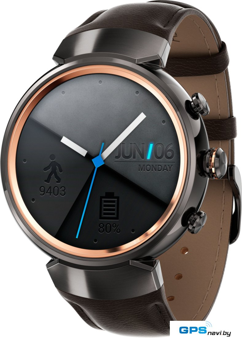 Умные часы ASUS ZenWatch 3 Gunmetal case/Brown leather band [WI503Q]