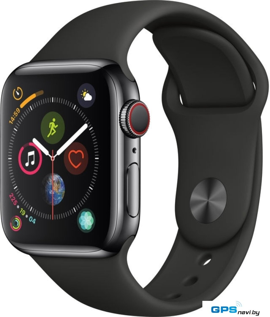 Умные часы Apple Watch Series 4 LTE 40 мм (сталь черный космос/черный)