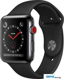 Умные часы Apple Watch Series 3 LTE 42 мм (сталь черный космос/черный)