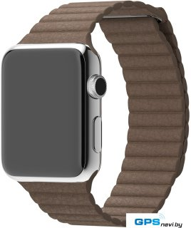 Умные часы Apple Watch 42mm Stainless Steel with Light Brown Leather Loop (MJ402)