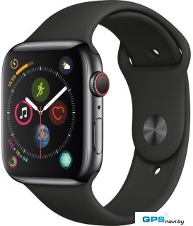 Умные часы Apple Watch Series 4 LTE 44 мм (сталь черный космос/черный)